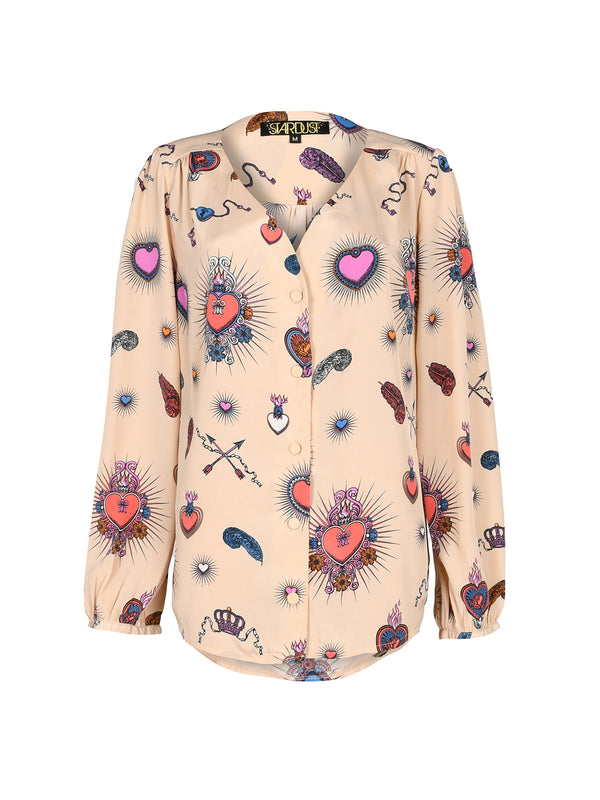 Betty Heart Blouse Beige