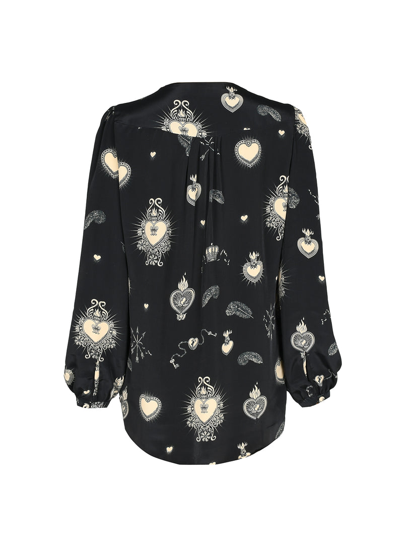 Betty Heart Blouse Black & Nude