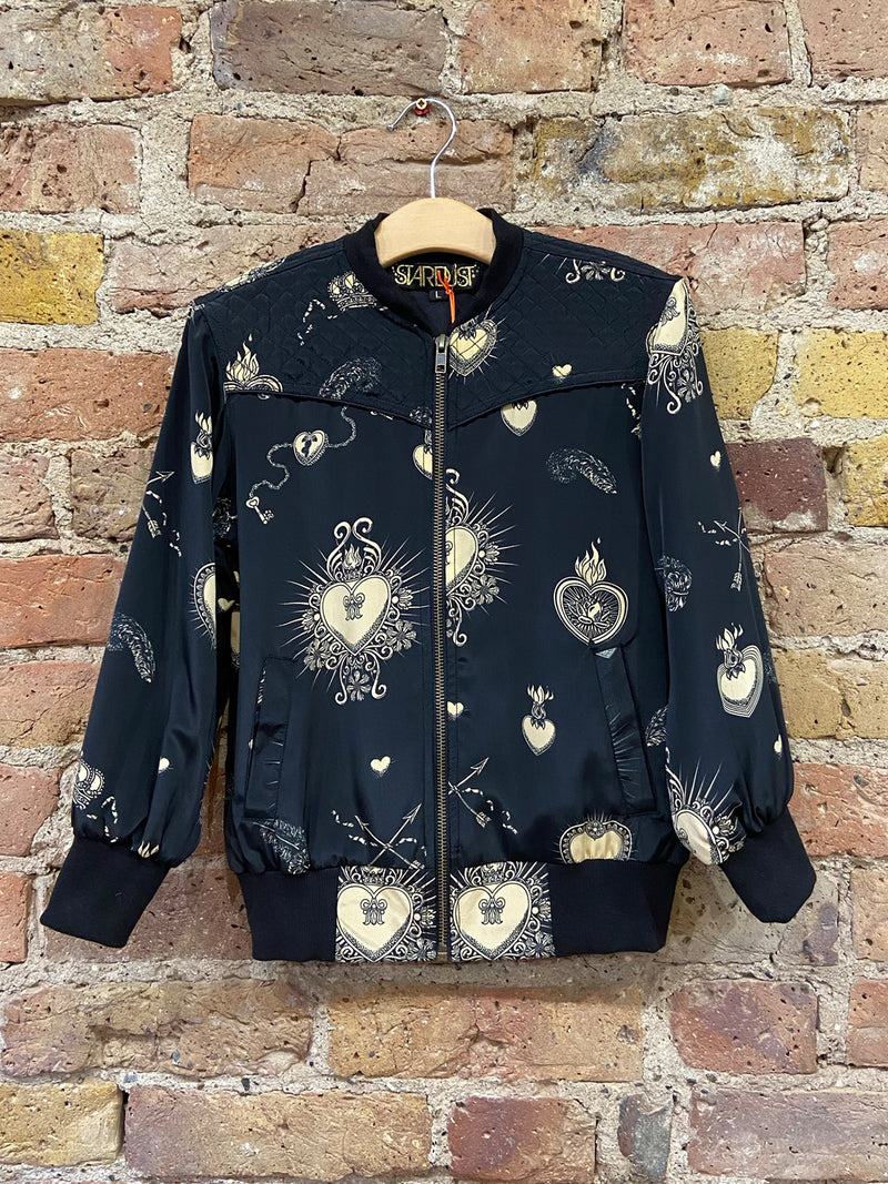 Kids Heart Bomber Jacket Black