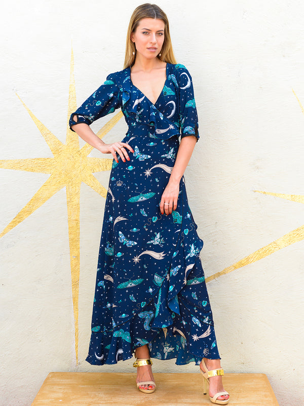 Moth Flamenco Maxi Dress Navy