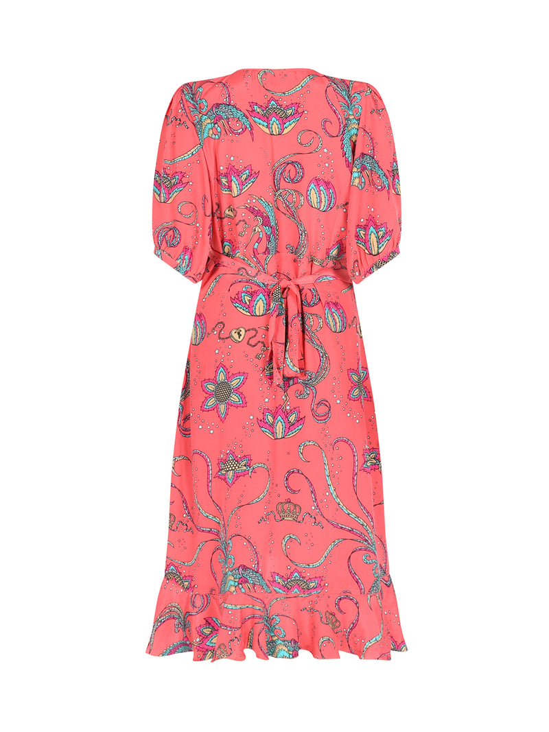 Baroque Bird Midi Dress Coral