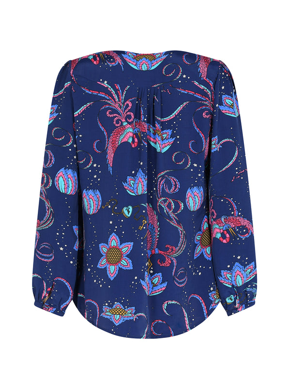 Betty Bird Blouse Navy