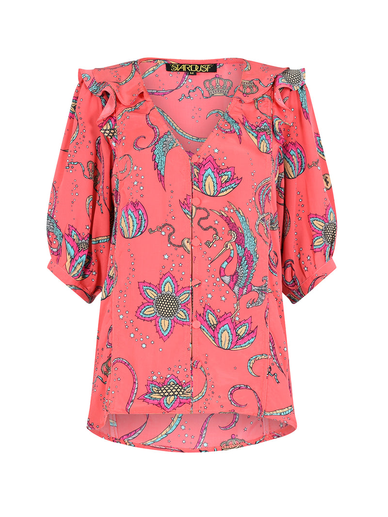 Bloom Bird Blouse Coral