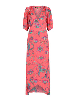 Bloom Bird Maxi Dress Coral