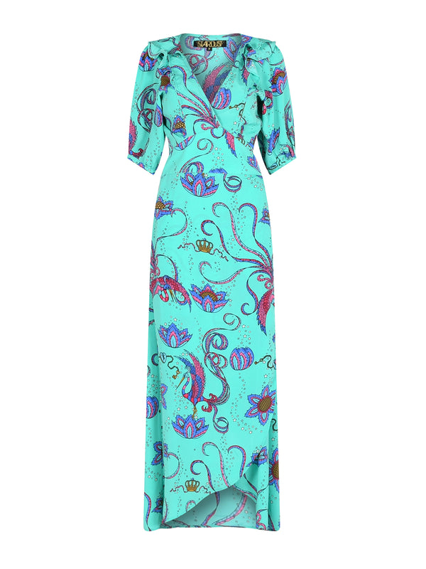Bloom Bird Maxi Dress Emerald
