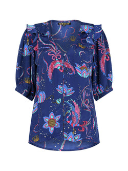 Bloom Bird Blouse Navy