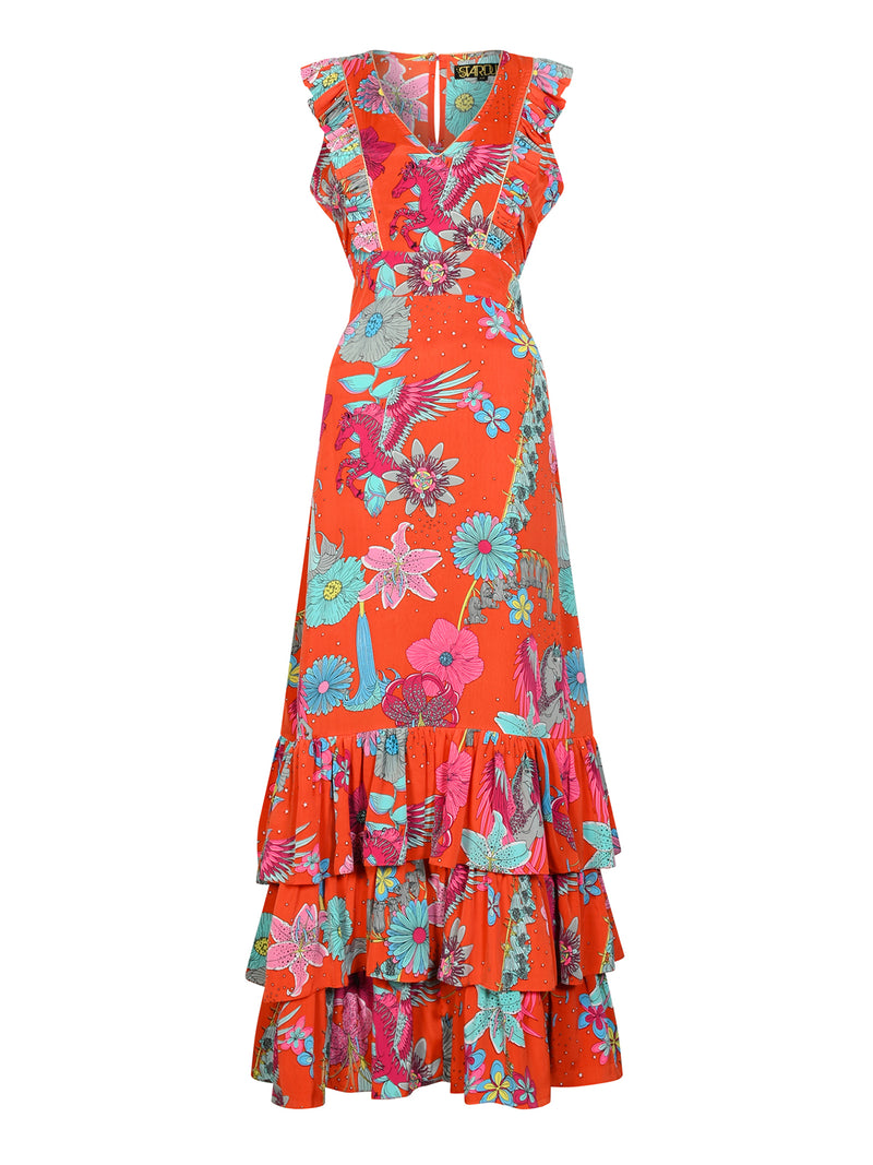 Floral Camelia Maxi Dress Red