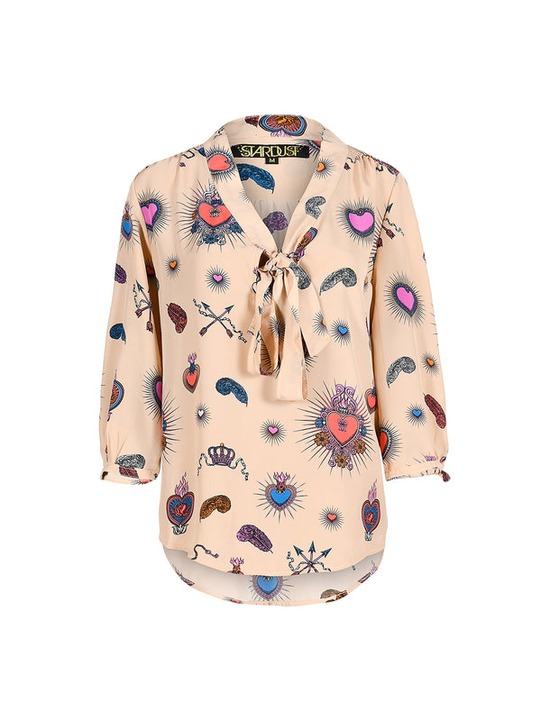 Candy Heart Blouse Beige