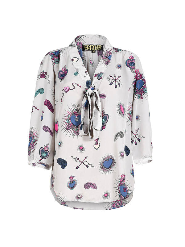 Candy Heart Blouse Grey