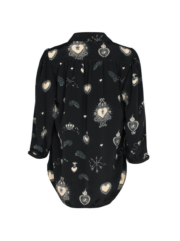 Candy Heart Blouse Black & Nude