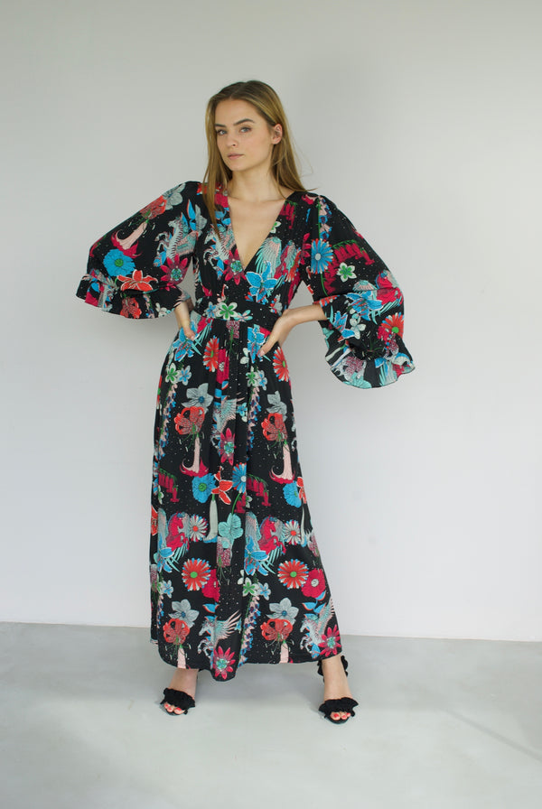 Floral Celia Maxi Dress Black