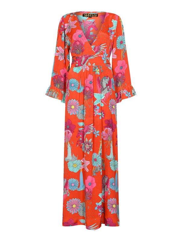 Floral Celia Maxi Dress Red