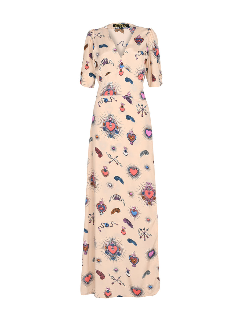 Chloe Heart Maxi Dress Beige
