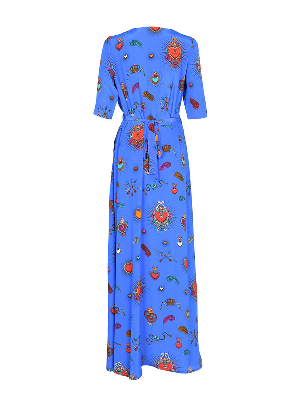 Chloe Heart Maxi Dress Cornflower Blue