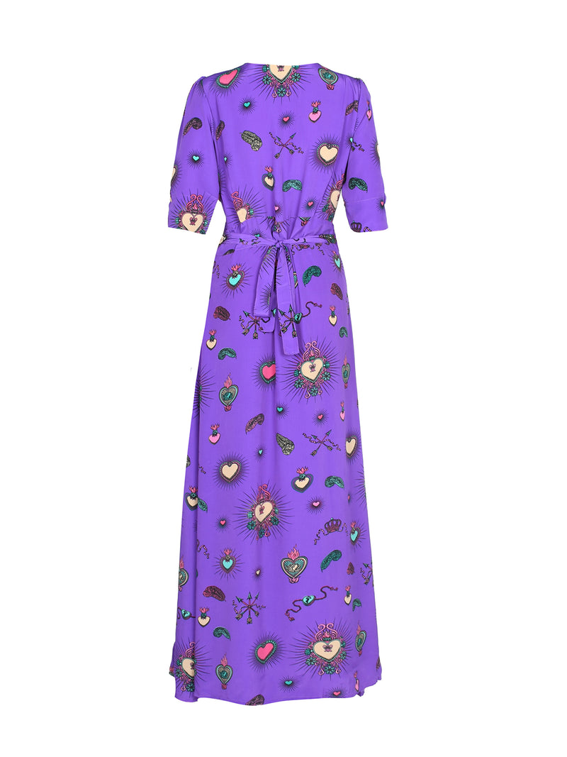 Chloe Heart Maxi Dress Purple