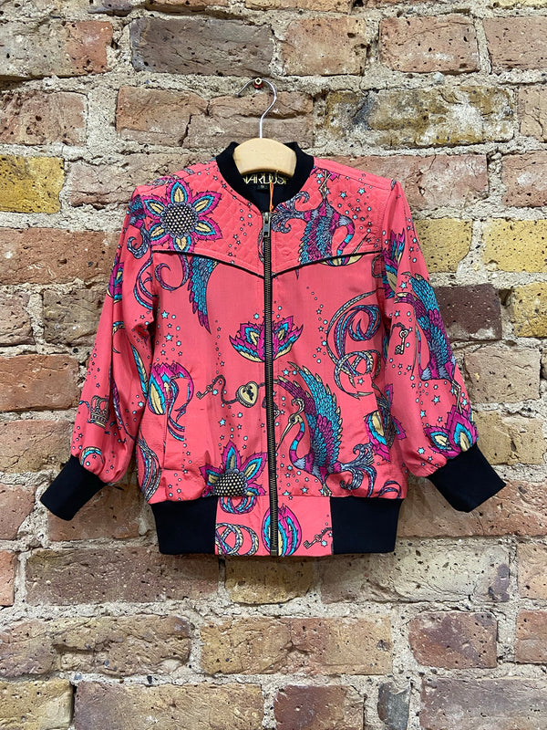 Kids Bird Bomber Jacket Coral