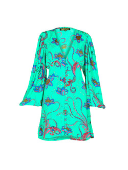 Diva Bird Mini Dress Emerald