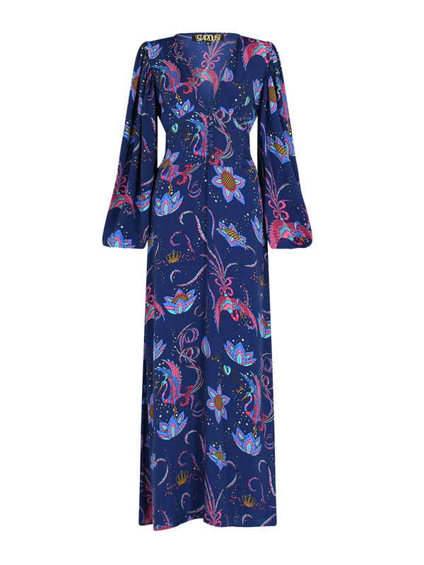 Diva Bird Maxi Dress Navy