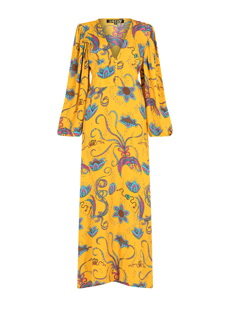 Diva Bird Maxi Dress Yellow