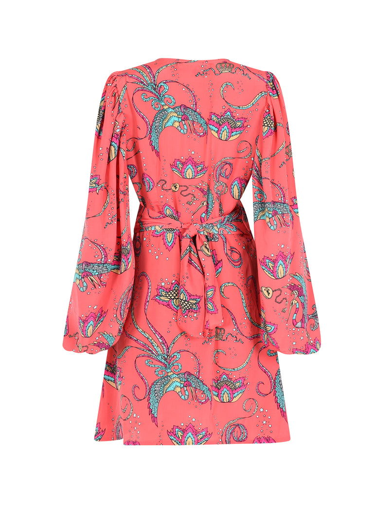 Diva Bird Mini Dress Coral