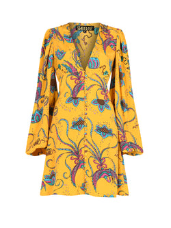 Diva Bird Mini Dress Yellow