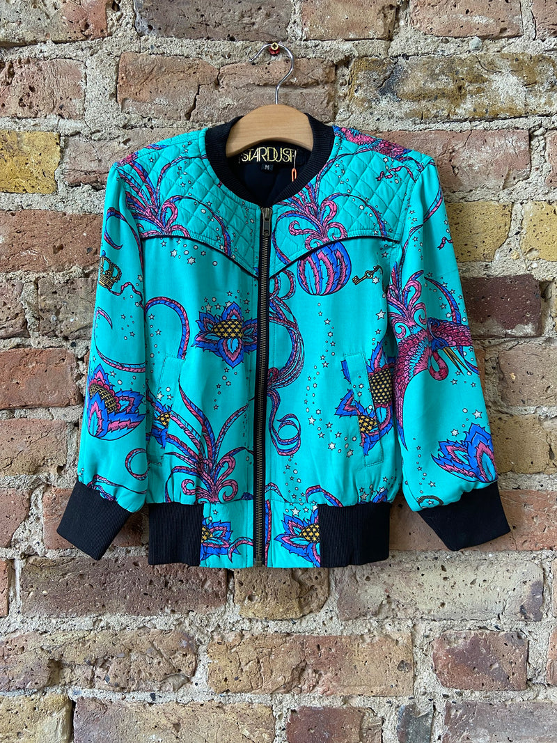 Kids Bird Bomber Jacket Emerald