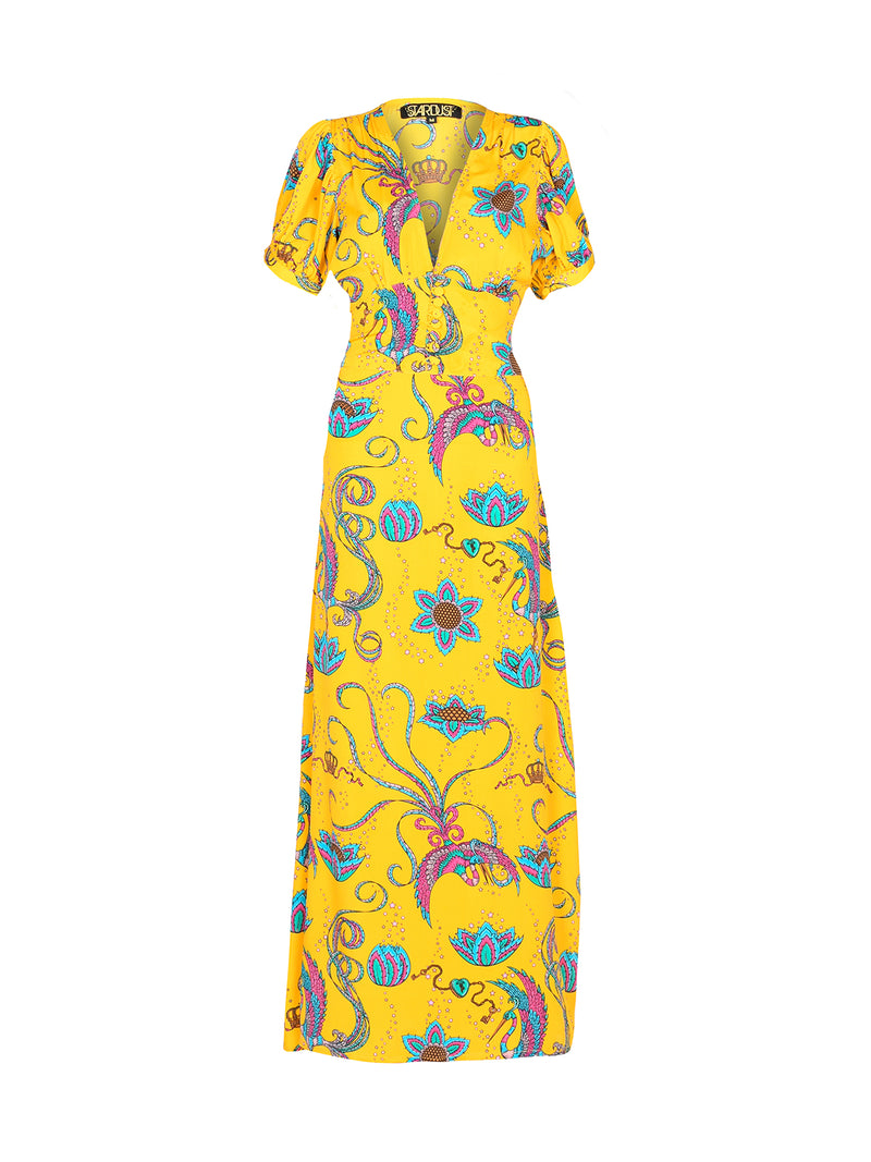 Evelyn Bird Tea Dress Yellow