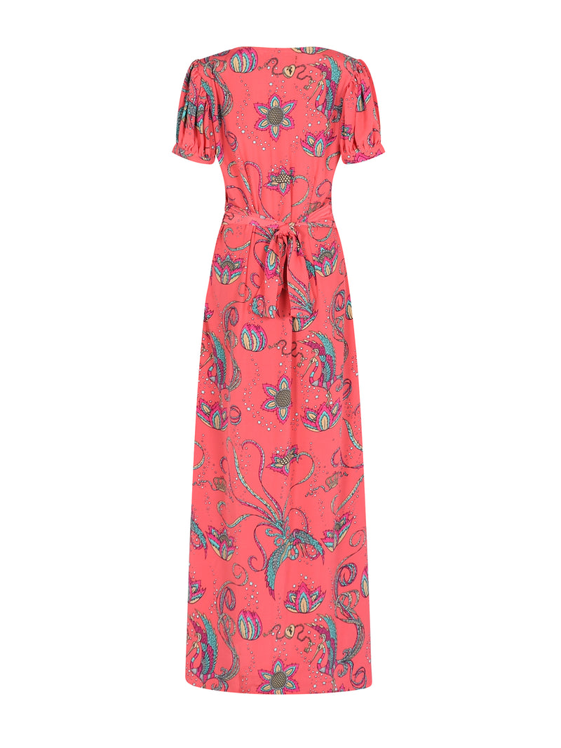 Evelyn Bird Tea Dress Coral