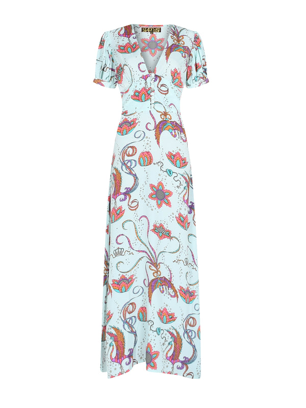 Evelyn Bird Tea Dress Mint