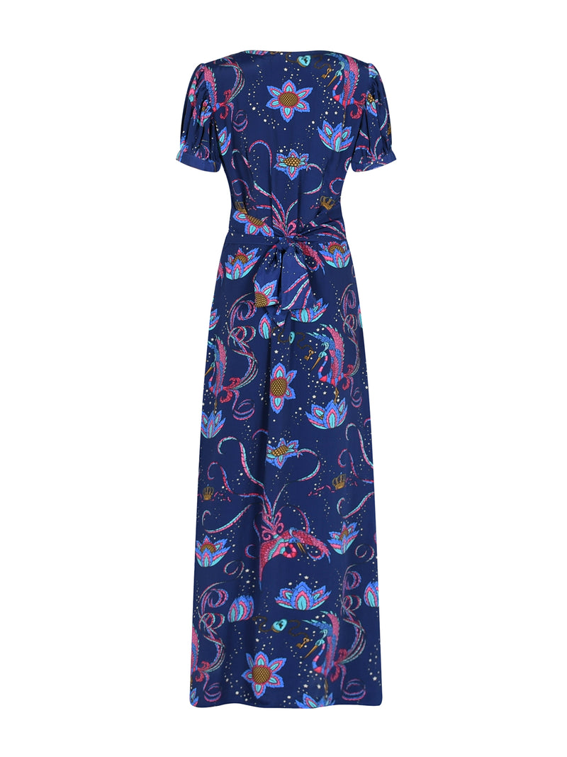 Evelyn Bird Tea Dress Navy