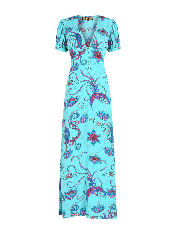 Evelyn Bird Tea Dress Teal