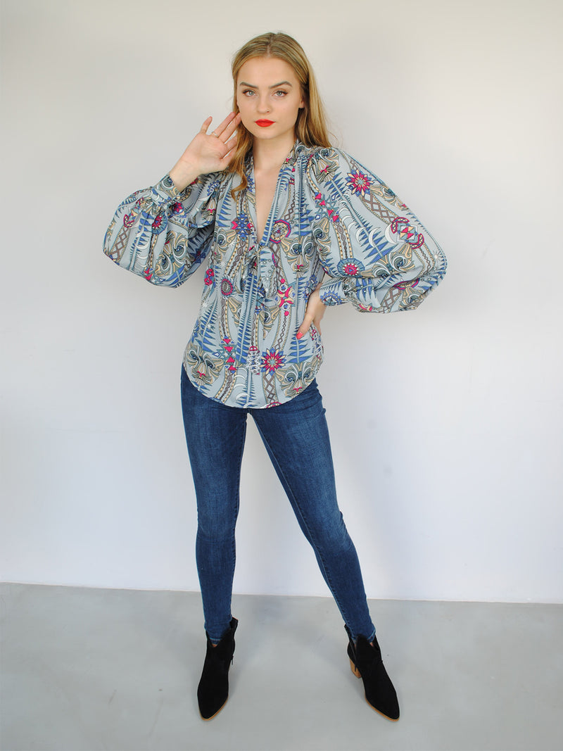 Tribal Farrah Blouse Snow Leopard