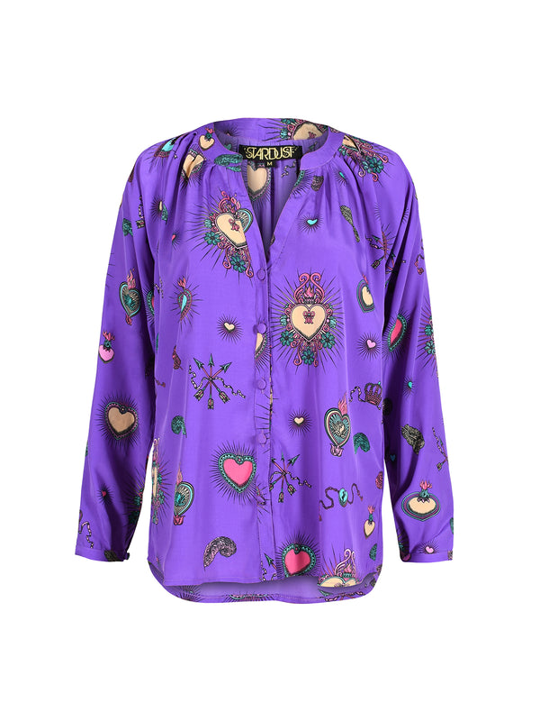 Feather Heart Blouse Purple