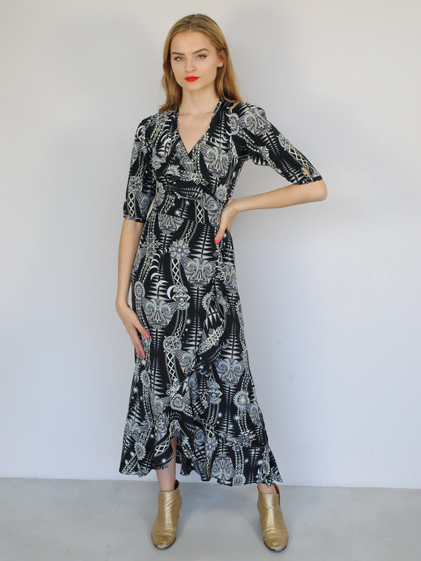 Tribal Flamenco Maxi Dress Black Diamond