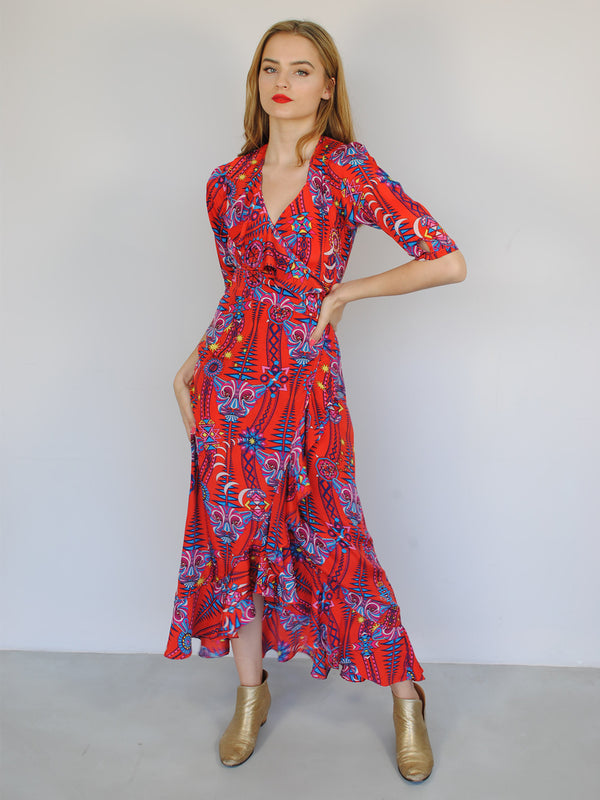 Tribal Flamenco Maxi Dress Electric Sunset