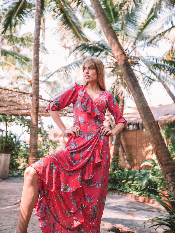 Flamenco Bird Maxi Dress Coral
