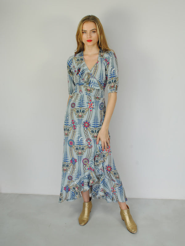 Tribal Flamenco Maxi Dress Snow Leopard