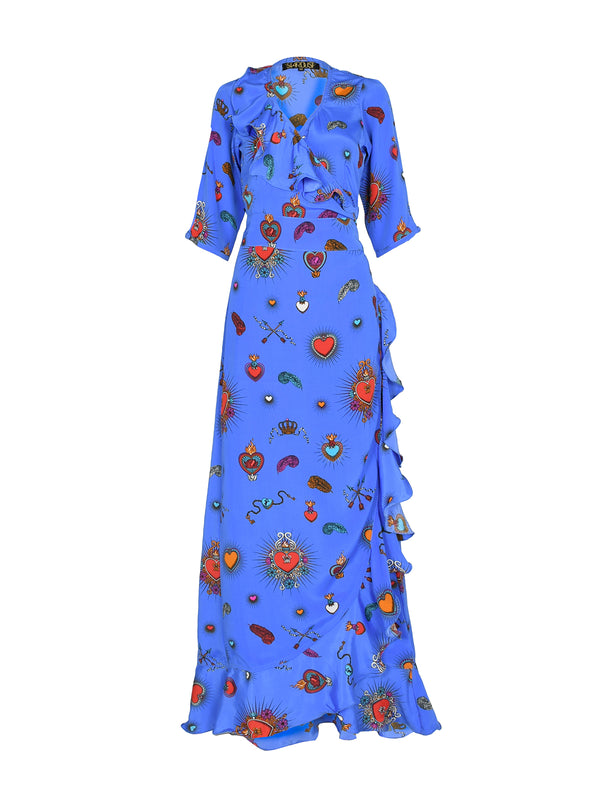 Flamenco Heart Maxi Dress Cornflower Blue
