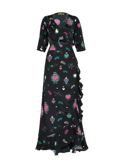 Flamenco Heart Maxi Dress Black & Multicolour