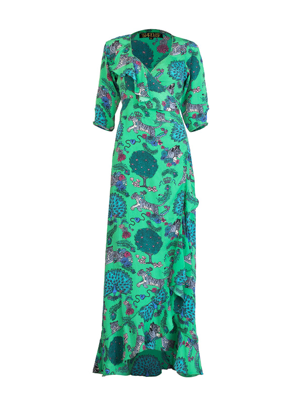 Tiger Flamenco Maxi Dress Electric Green