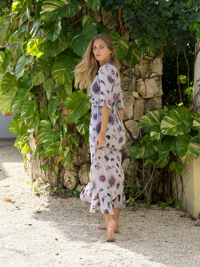 Flamenco Heart Maxi Dress Grey