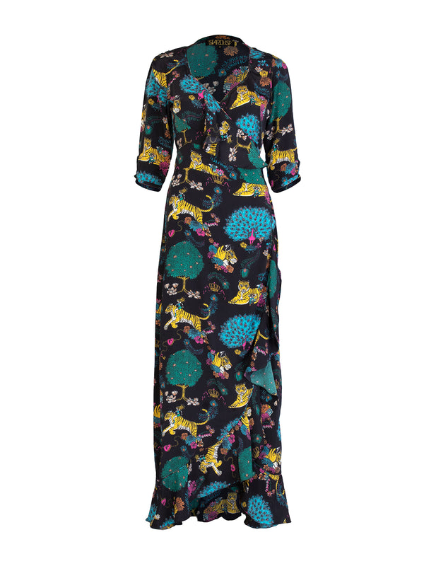 Tiger Flamenco Maxi Dress Black & Multicolour