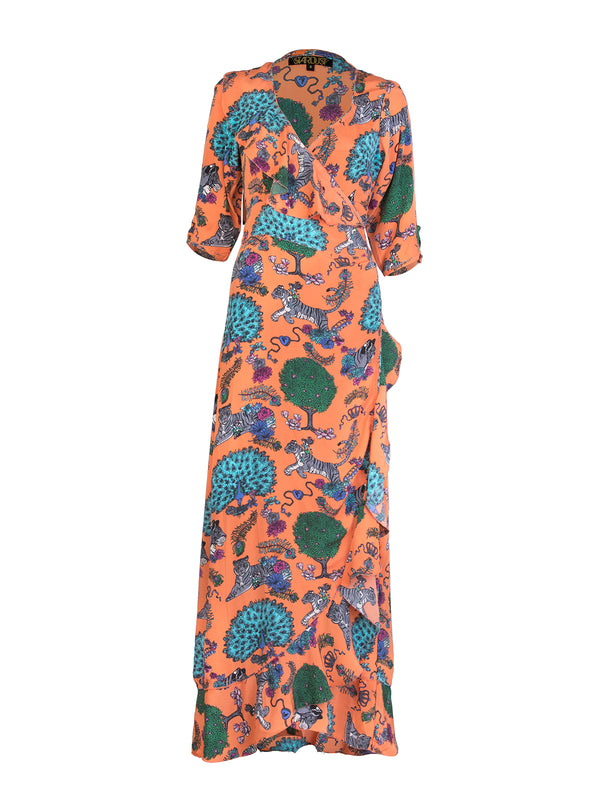 Tiger Flamenco Maxi Dress Tangerine