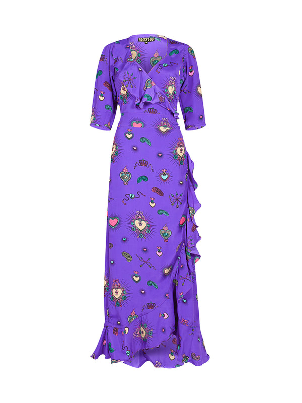 Flamenco Heart Maxi Dress Purple