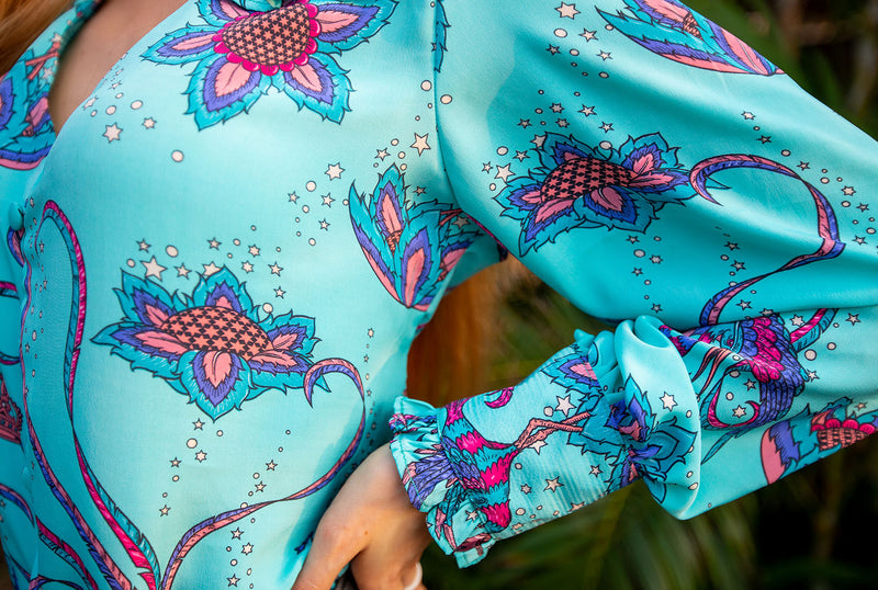 Frangipani Bird Long Sleeved Blouse Teal