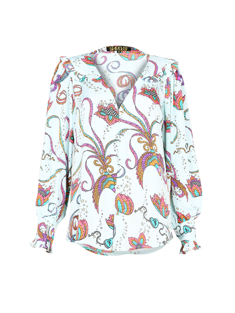 Frangipani Bird Long Sleeved Blouse Mint