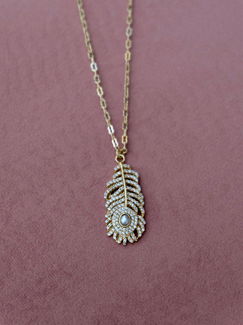 Feather Pendant Pearl Necklace