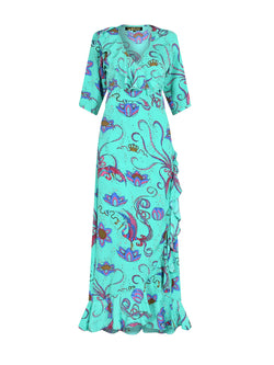 Flamenco Bird Maxi Dress Emerald