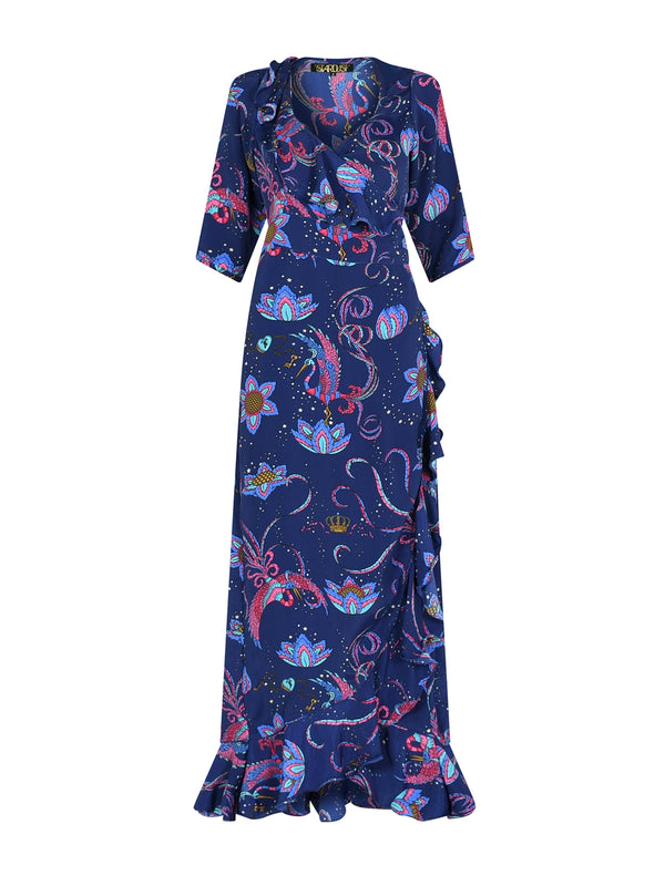 Flamenco Bird Maxi Dress Navy