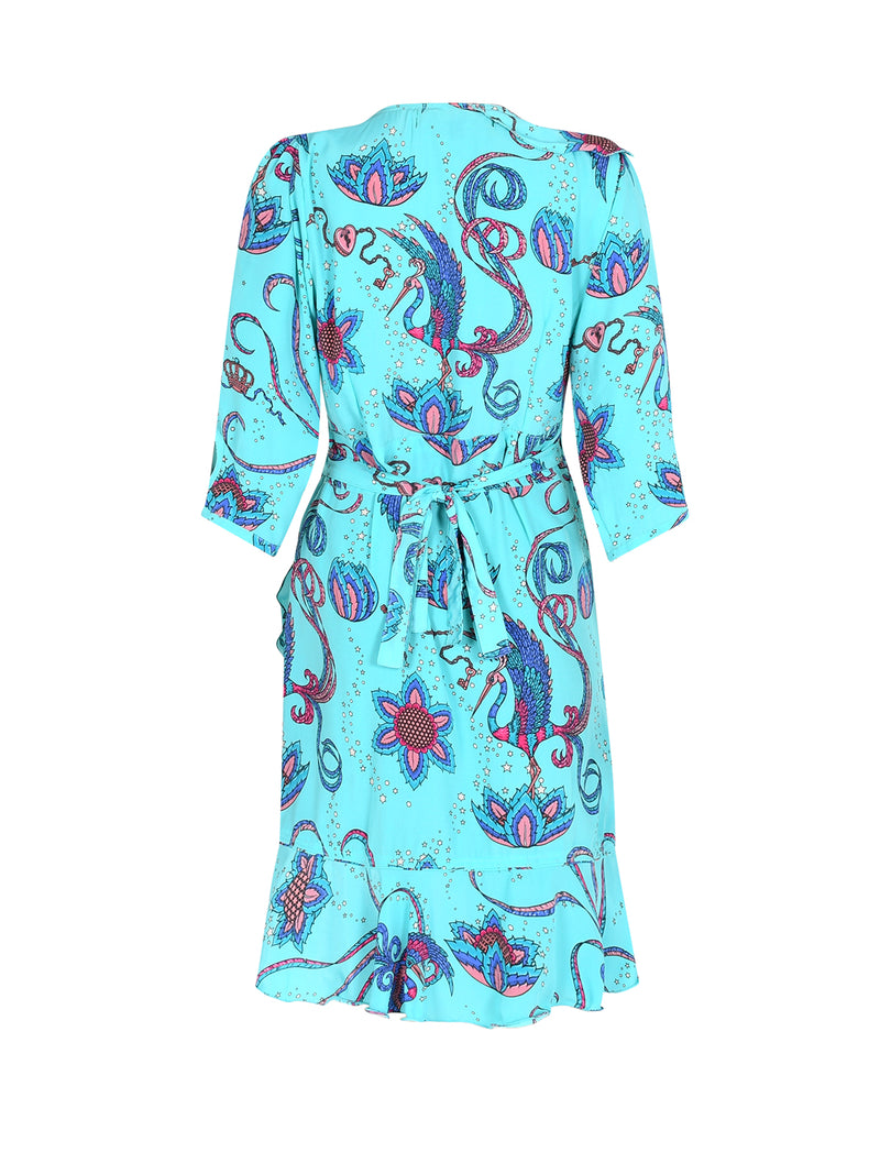 Flamenco Bird Mini Dress Teal